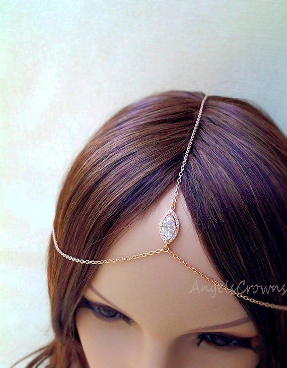Silver Rose Gold Head Chain Headpiece Pink Gold Hair Jewelry Hair