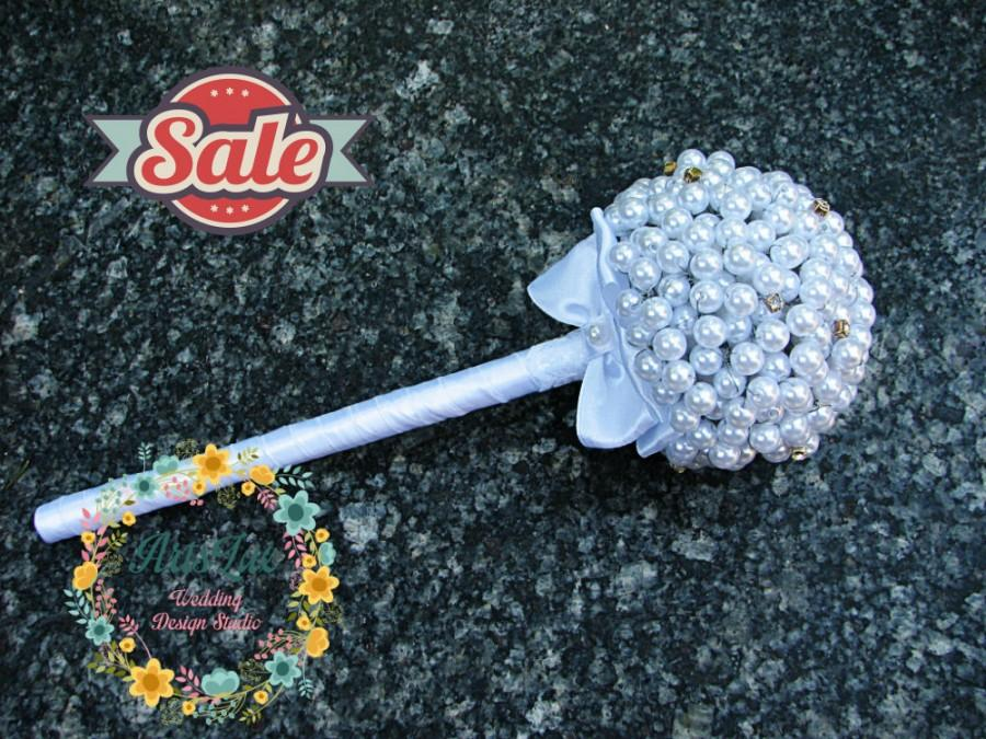 Boda - Bridesmaid Bouquet - Pearl bridal bouquet - Alternative bridal bouquet - Vintage bridal bouquet - Handmade wedding bouquet