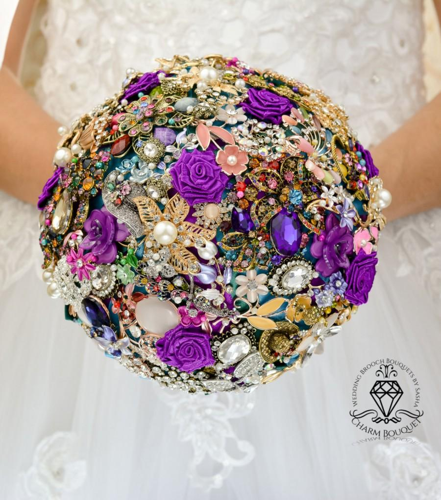 Wedding - Wedding bouquet, Bridal bouquet, jewel bouquet, Purple bouquet, princess jewel bouquet, Broach bouquet, Bridal bouquet, crystal bouquet