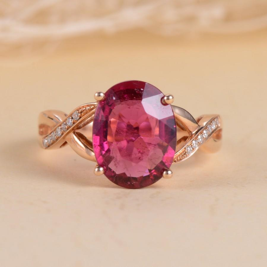 Mariage - Unique  Engagement Ring Oval Cut Pink Tourmaline  Ring Rose Gold Micro Pave Diamond Wave Promise Anniversary Infinity October Birthstone