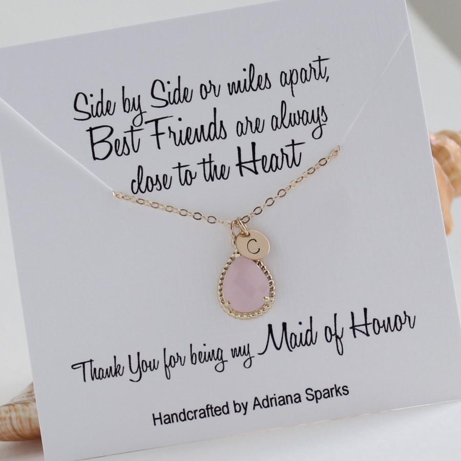 Personalized Maid Of Honor Gift Gold Pink Initial Necklace Blush Bridal Jewelry Card Party Wedding
