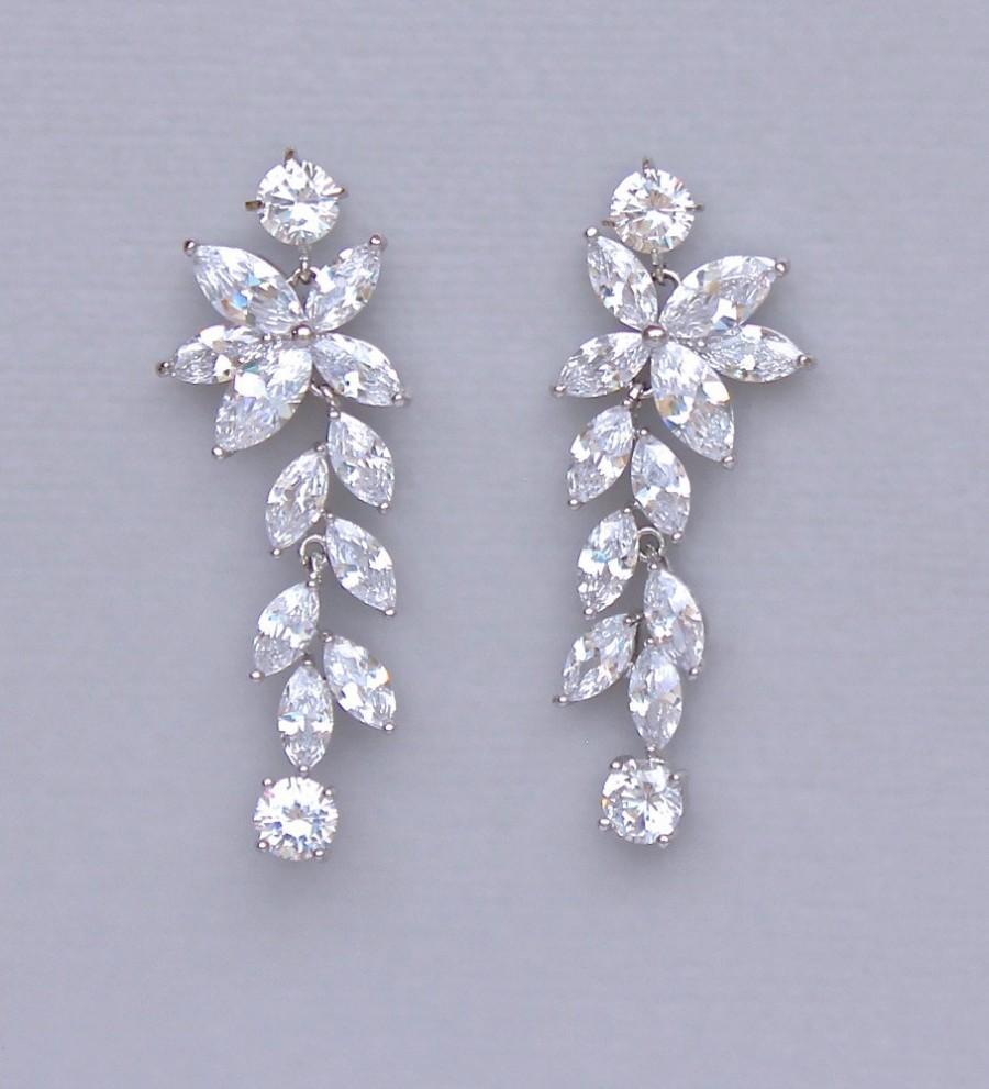 Mariage - Chandelier Earrings, Crystal Earrings, Crystal Bridal Earrings, Bridal Jewelry, Crystal Wedding Earrings, MAXIME