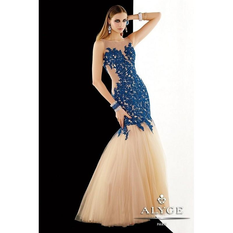 Mariage - Alyce 2382 Tulle Trumpet Skirt Dropped Waist Sheer Bateau Neckline Sleeveless - Mermaid Long Bateau Prom Alyce Paris Dress - 2017 New Wedding Dresses