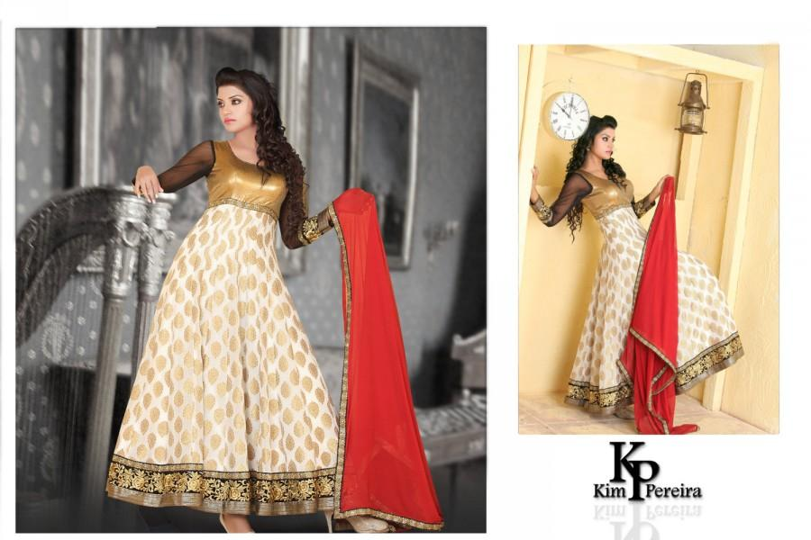 Mariage - Gold Sequence Yoke with Off White Printed Georgette Brocade Anarkali Fusion Dress