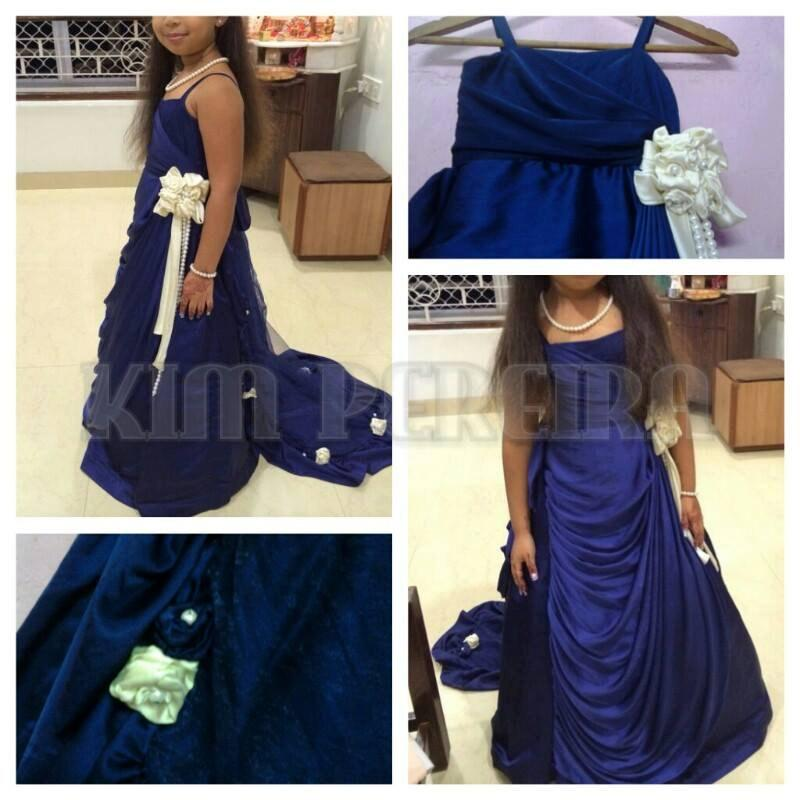 Свадьба - Blue Satin Baby Flower Girl's Gown for Weddings, Birthdays, Parties and Engagements