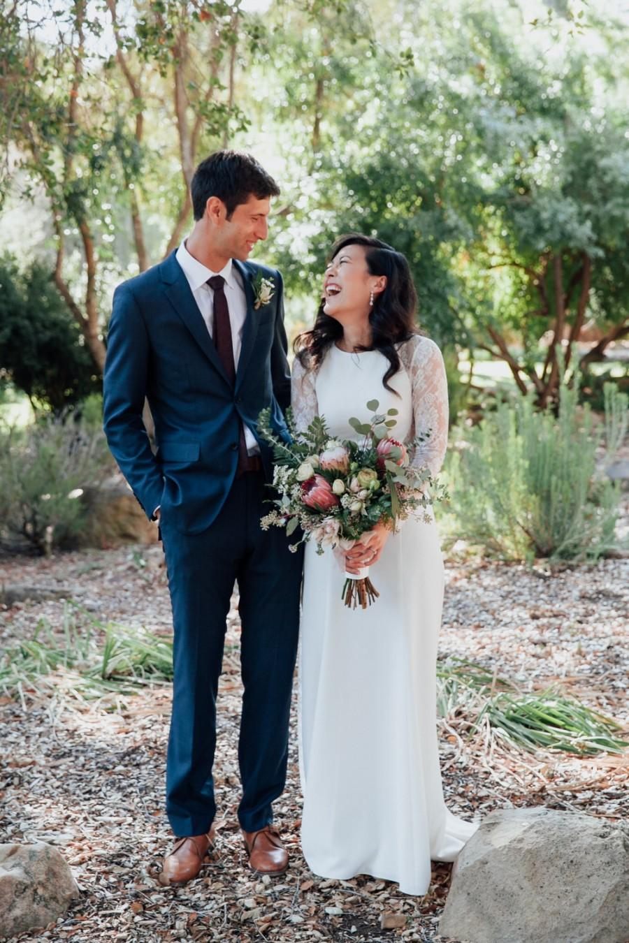"Mariage - Long Sleeve Wedding Dress, A-line Lace Wedding Dress with Open Back - ""Liz"", Unique Wedding Dress, Bohemian Wedding Dress, Custom Order"