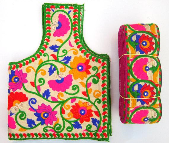 Mariage - Colorful Embroidery Blouse with saree border  - Sari Blouse - Saree Blouse - Sari Top - For Women - Designer saree Blouse - Designer Blouse