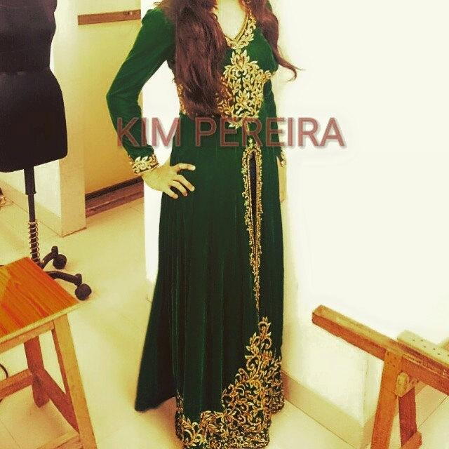 Mariage - Green Velvet Long Tunic with a High Slit