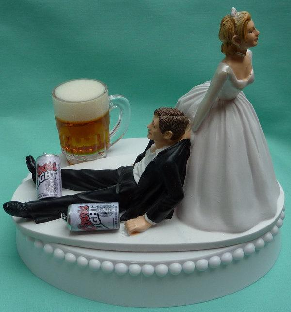 Wedding - Wedding Cake Topper Coors Light Beer Drinking Mug Cans Drinker Groom Themed w/ Bridal Garter Alcoholic Beverage Reception Centerpiece Item