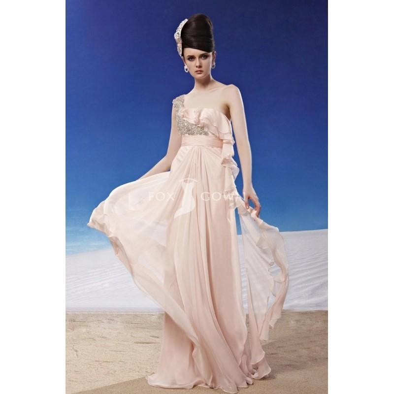 Hochzeit - Mantel voller Länge Empire One-Schulter Beading Arbeit Rüschen Chiffon Prom Kleid - Festliche Kleider