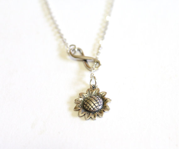 Hochzeit - Sunflower Necklace, Infinity Necklace, Bridesmaid gift idea, Bridal jewelry, Bridesmaid necklace, Wedding gift, Christmas gift, Gift