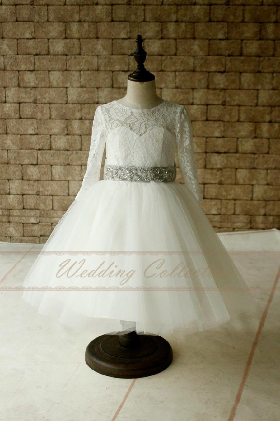 Свадьба - Ivory Lace Tulle Long Sleeves Flower Girl Dress With Dimond Waistband , Baby Dress with Silver Sash and Sparkle Band