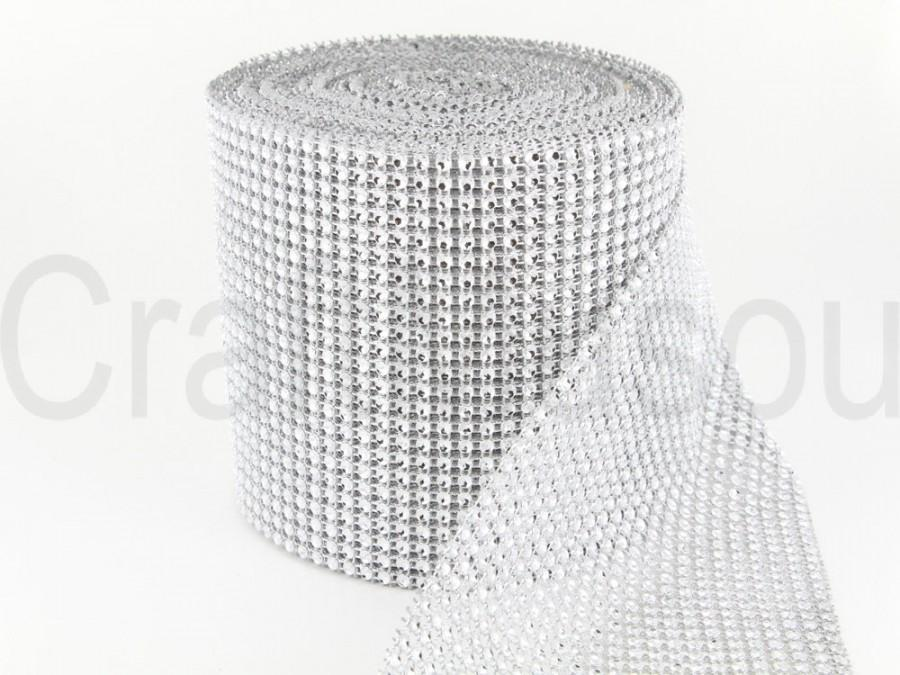 "Свадьба - Silver 4.75""x10 Yards Diamond Sharp Mesh Wrap Roll Sparkle Rhinestone Crystal Ribbon"
