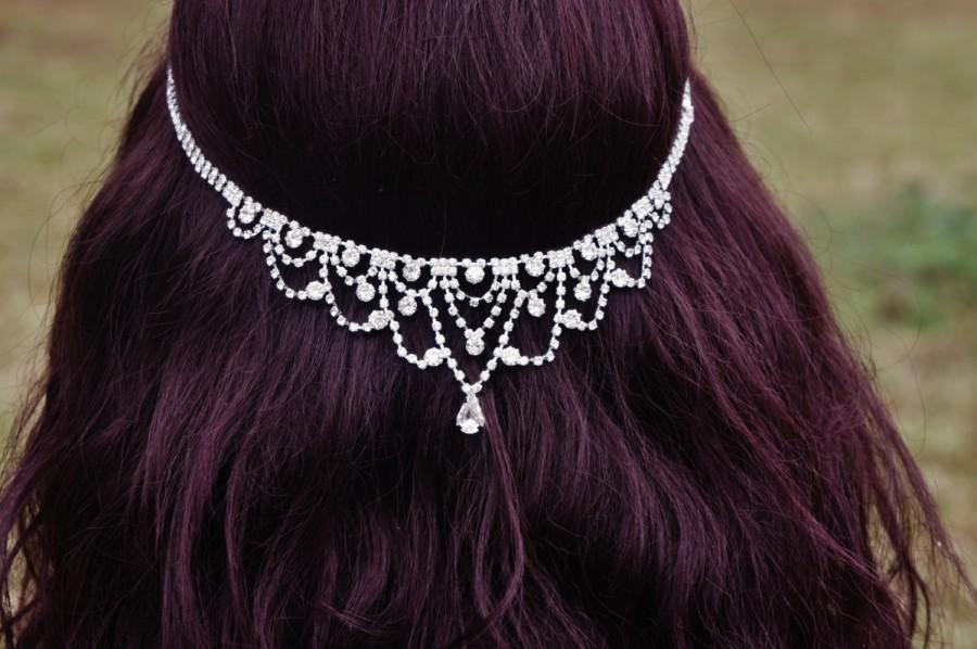 Mariage - Bridal Rhinestone Floater, Forehed Tiara, Bridal Head Chain, Backside Floater, Rhinestone Headband, ~ Jessika~