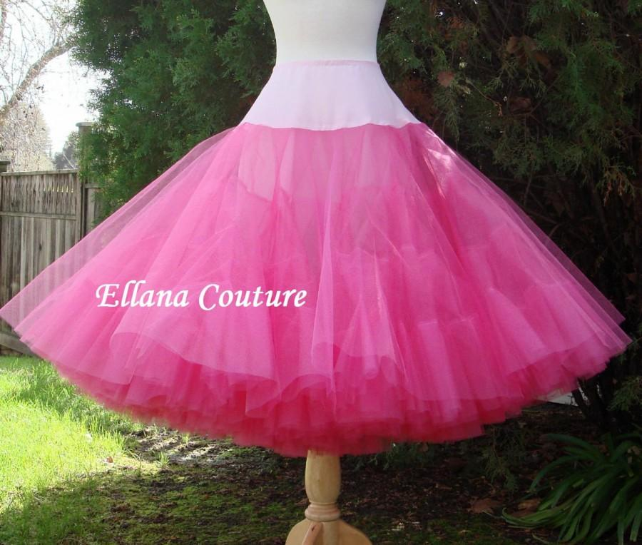 Mariage - Hot Pink Tea Length Crinoline. MEGA Fullness Petticoat. Available in Other Colors.