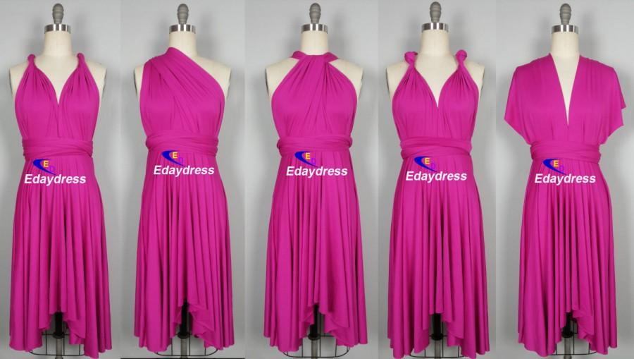 Свадьба - Summer Multi Way Hot Pink Fuschia Bridesmaid Dress Infinity Short Knee Length Wrap Convertible Dress Wedding Dress Evening Dresses
