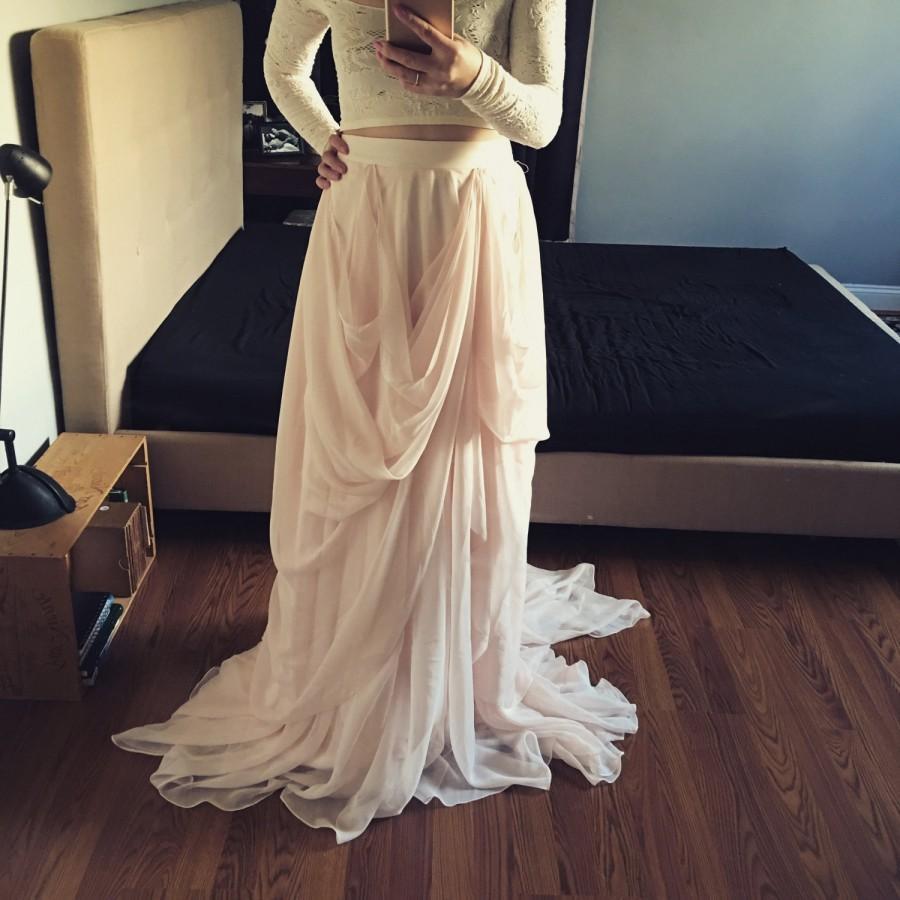 Mariage - JoJo-Custom wedding skirt-Chiffon wedding skirt-Blush wedding skirt-nude bridal skirt-wedding skirt