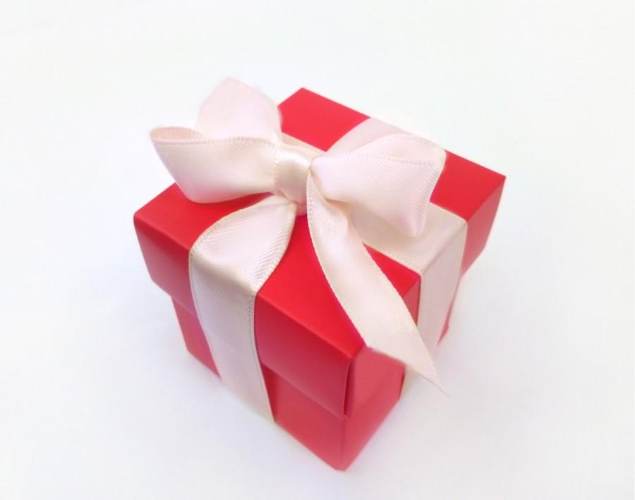 Mariage - Red Favor Box - Wedding Favor Boxes - Party Favor Box - Favor Candy Box - Red Party Decoration - DIY Paper Candy Box With Ribbon - Small Box