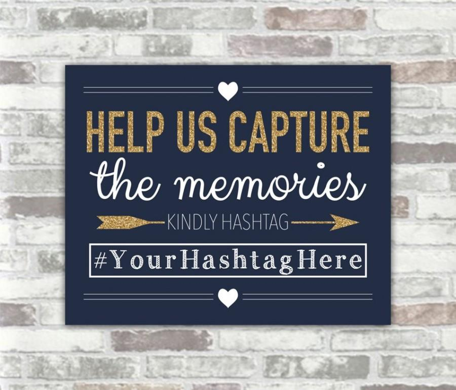 Mariage - PRINTABLE Personalised Wedding Hashtag Sign - Navy, White and Gold Glitter Effect - 8x10 digital files - Social Media Photos Sharing Bridal