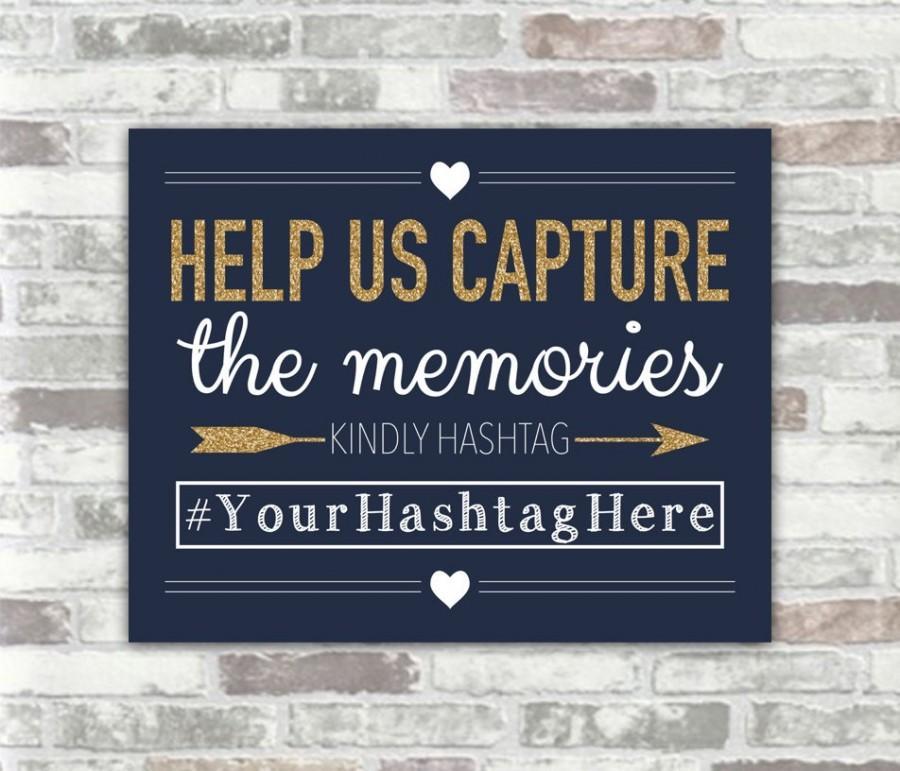 Свадьба - PRINTABLE Personalised Wedding Hashtag Sign - Navy, White and Gold Glitter Effect - 8x10 digital files - Social Media Photos Sharing Bridal