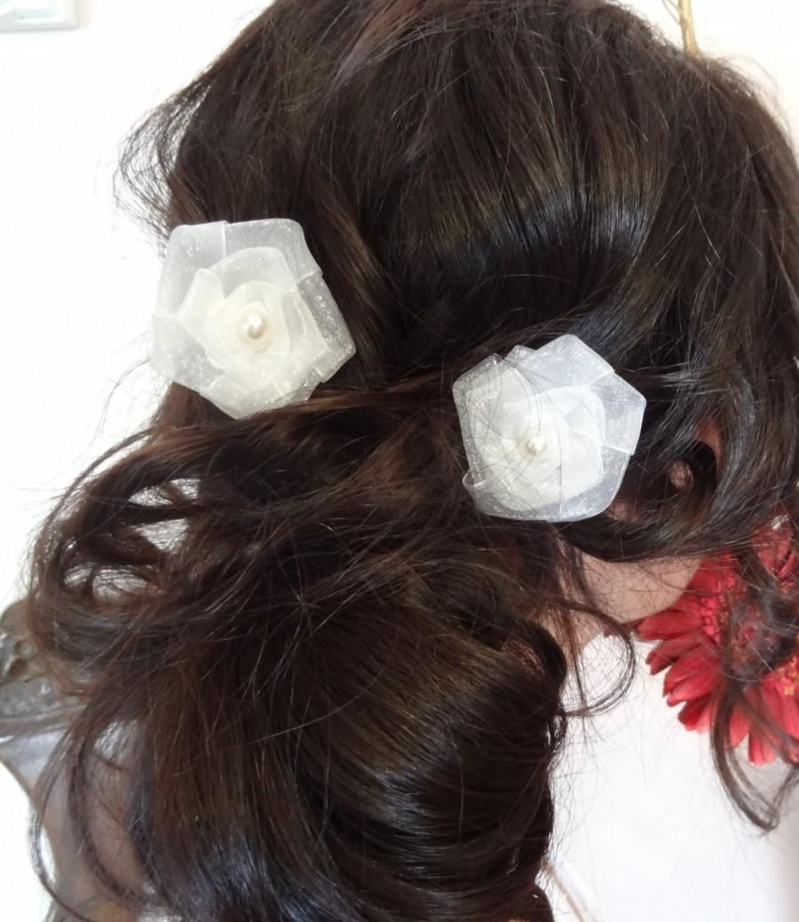 Mariage - White Rose Wedding Hair Pins, Ivory Bridal Hair Pins, Organza Hair Pins, Hair Accessories, Bridesmaid Hair, Woodland - Set of 2
