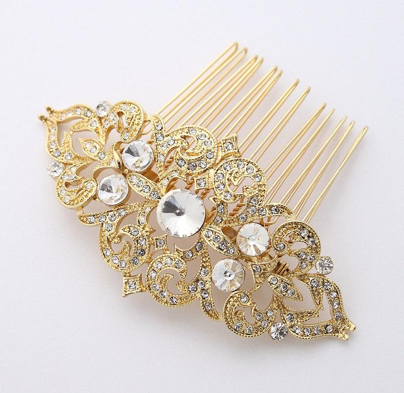 Mariage - Gold Bridal Comb Vintage Old Hollywood Gatsby Wedding Hairpiece Rhinestone Gold Hair Combs Bridesmaid Bridal Hair Jewelry Accessory