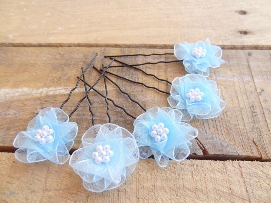 Wedding - Blue Flower Wedding Hair Pins, Blue Bridal Hair Pins, Hair Accessories, Organza Hair Pins, Bridesmaid Hair, Woodland - Set of 5