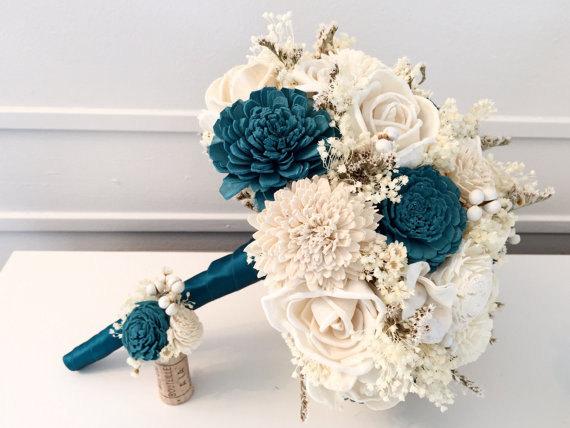 Свадьба - Teal Wedding Bouquet -sola flowers - choose your colors - Custom - Alternative bridal bouquet - bridesmaids bouquet