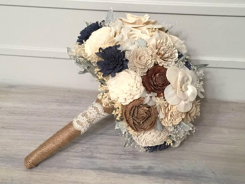 Mariage - Navy, Burlap, Ivory Bouquet made with sola flowers - choose colors - Custom - Alternative bridal bouquet - bridesmaids - rustic - natural
