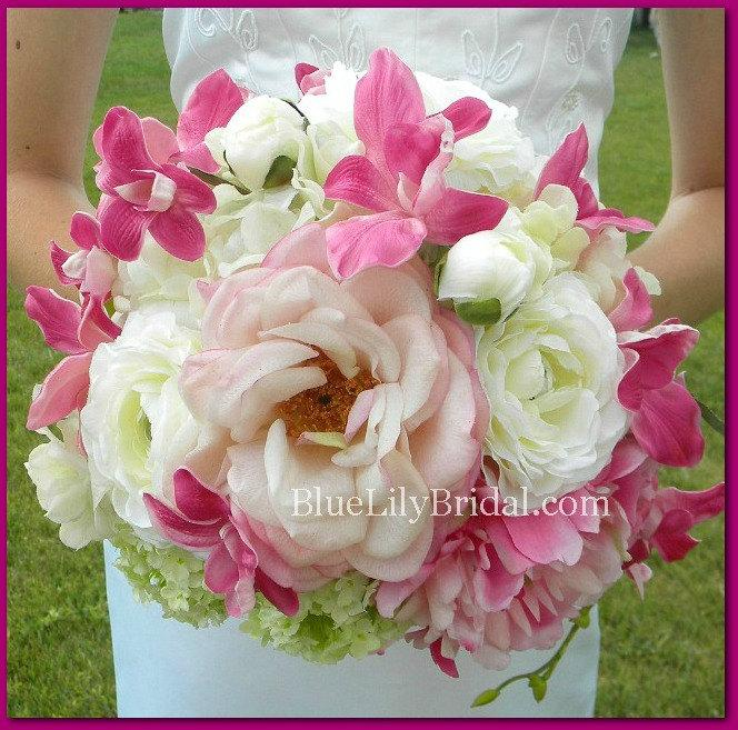 Mariage - Real Touch Fuchsia, White and Blush PInk Bridal Bouquet and Boutonniere Set