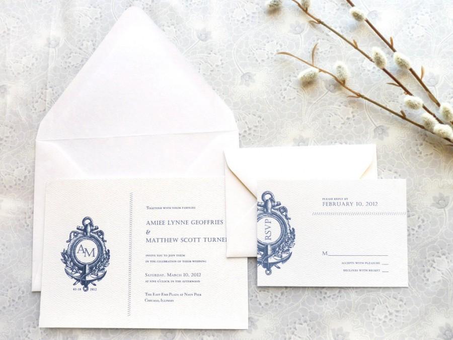 Hochzeit - Anchor Nautical Wedding Invitations - Anchor Wedding - Monogram Wedding - Sailing Wedding - Summer Wedding - Ocean Wedding - Navy Wedding