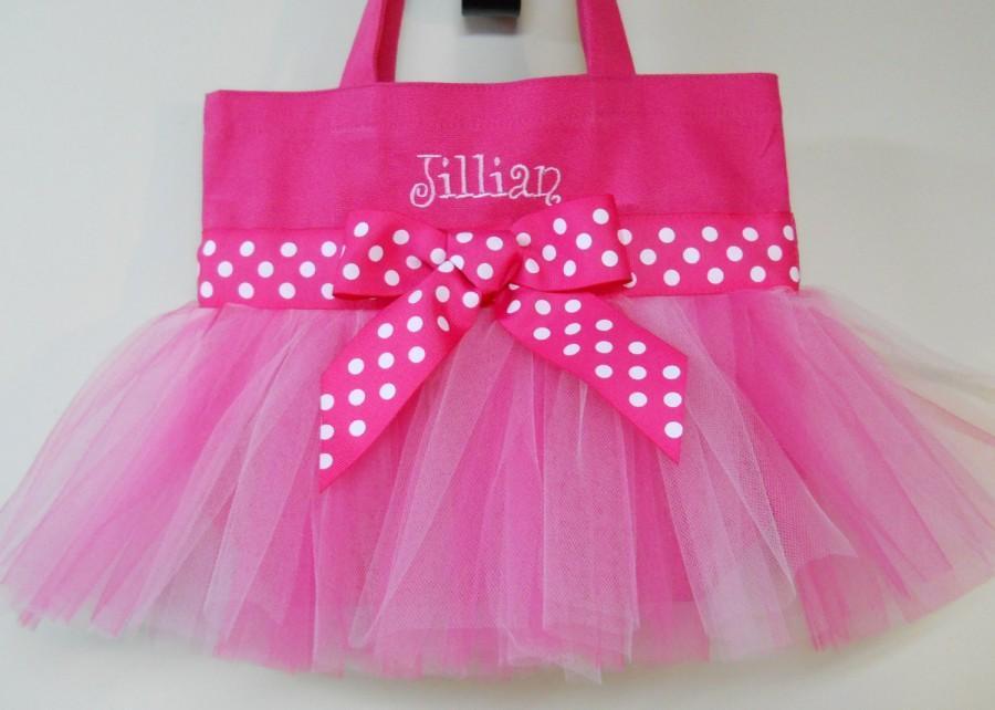 Mariage - Ballet bag, dance bag, Tutu tote bag, tutu ballet Tutu ballet bag, Embroidered Tote Bag Hot Pink Tote Bag Tutu Tote Bag  TB199  Ch