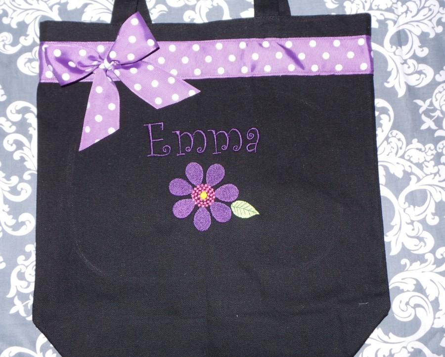 Wedding - Flower Girl Tote Bag Personalized with bow. Embroidered You choose the colors. Adorable