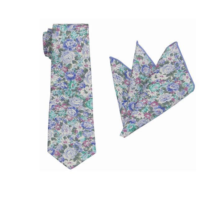 Mariage - Blue Floral Tie.Wedding Floral Tie.Mens Floral Tie