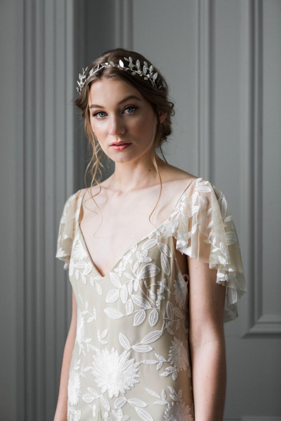 Mariage - Delicate Leaf Tiara, Silver Tiara, Leaf Halo, Leaf Headpiece, silver bridal headband, bridal tiara, bridal headpiece, bohemian, boho #102