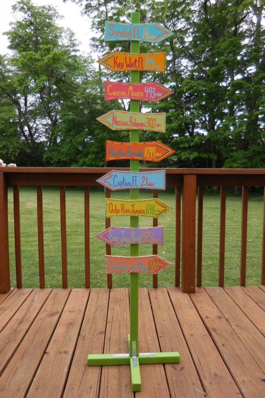 Hochzeit - Custom Directional Sign Post With Stand (Add-on)