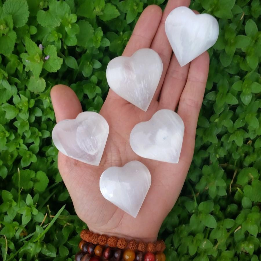 Свадьба - selenite heart, selenite Hearts, protection stone, healing stone, love stone