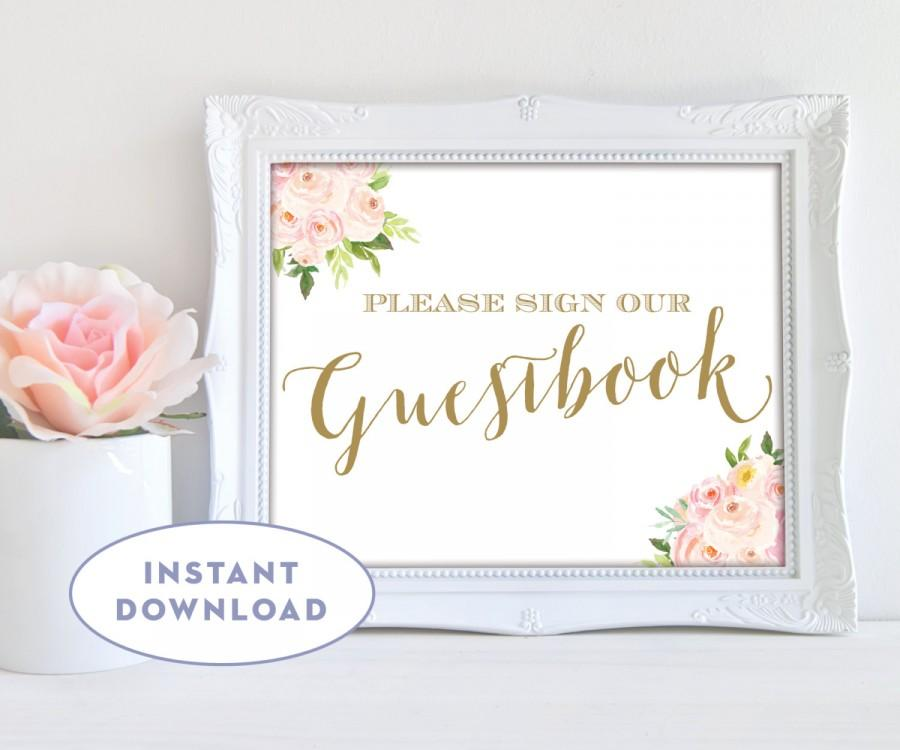 Hochzeit - Printable Guestbook Sign, Please Sign Our Guestbook, Instant Download, Guestbook 10x8, Pink and Gold The Bella Collection