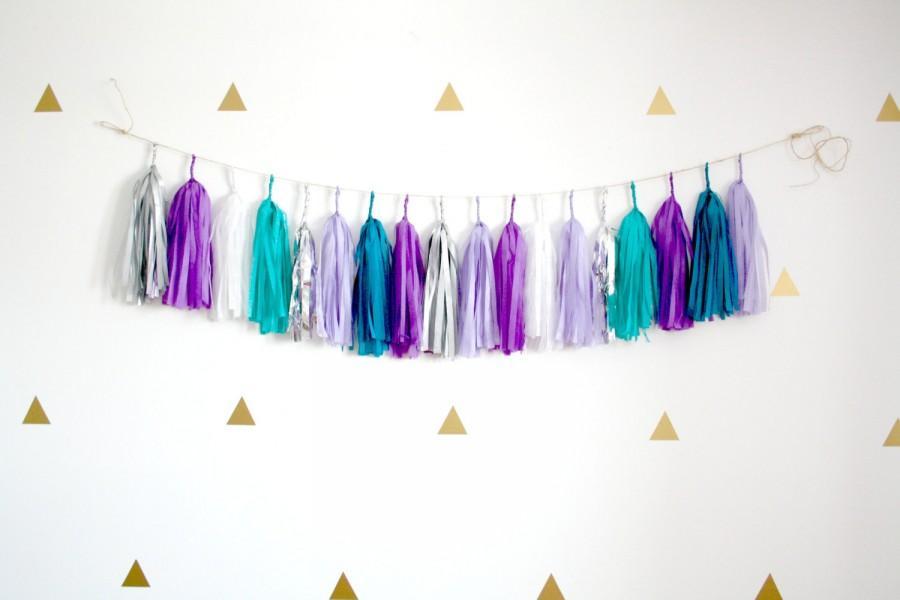 Свадьба - Teal Blue, Purple, Silver Tassel Garland - Mermaid Party Decor, Frozen Winter Wonderland Decorations