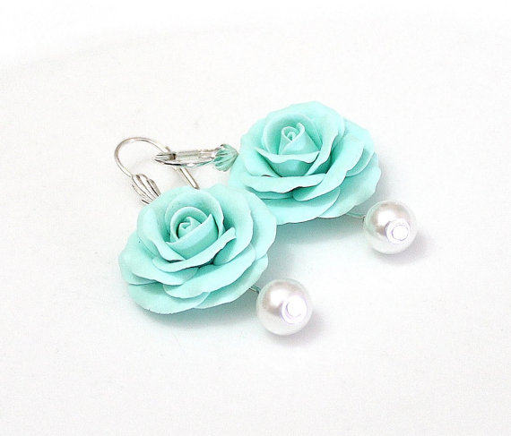 Mariage - Mint Rose Drop Earrings, Mint flower drop, Earrings and pearl, Mint Rose, Wedding Earrings, Mint Bridesmaid Jewelry, Bridal Flowers