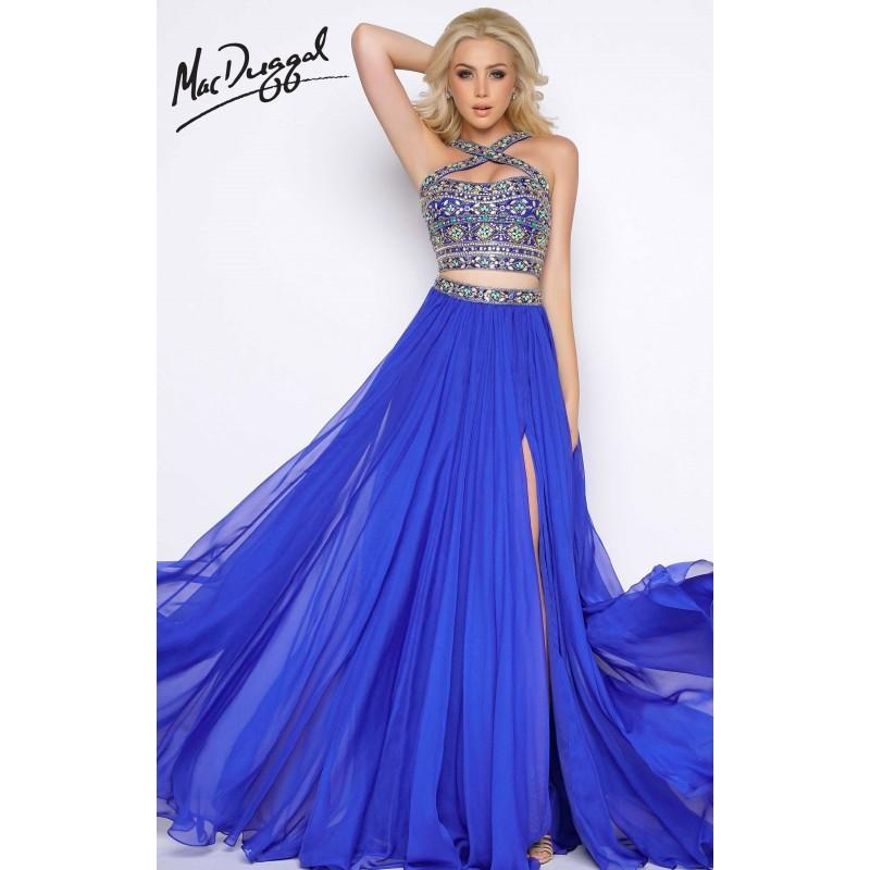 Wedding - Sapphire Multi Cassandra Stone 50364A - 2-piece A Line Long Chiffon High Slit Dress - Customize Your Prom Dress
