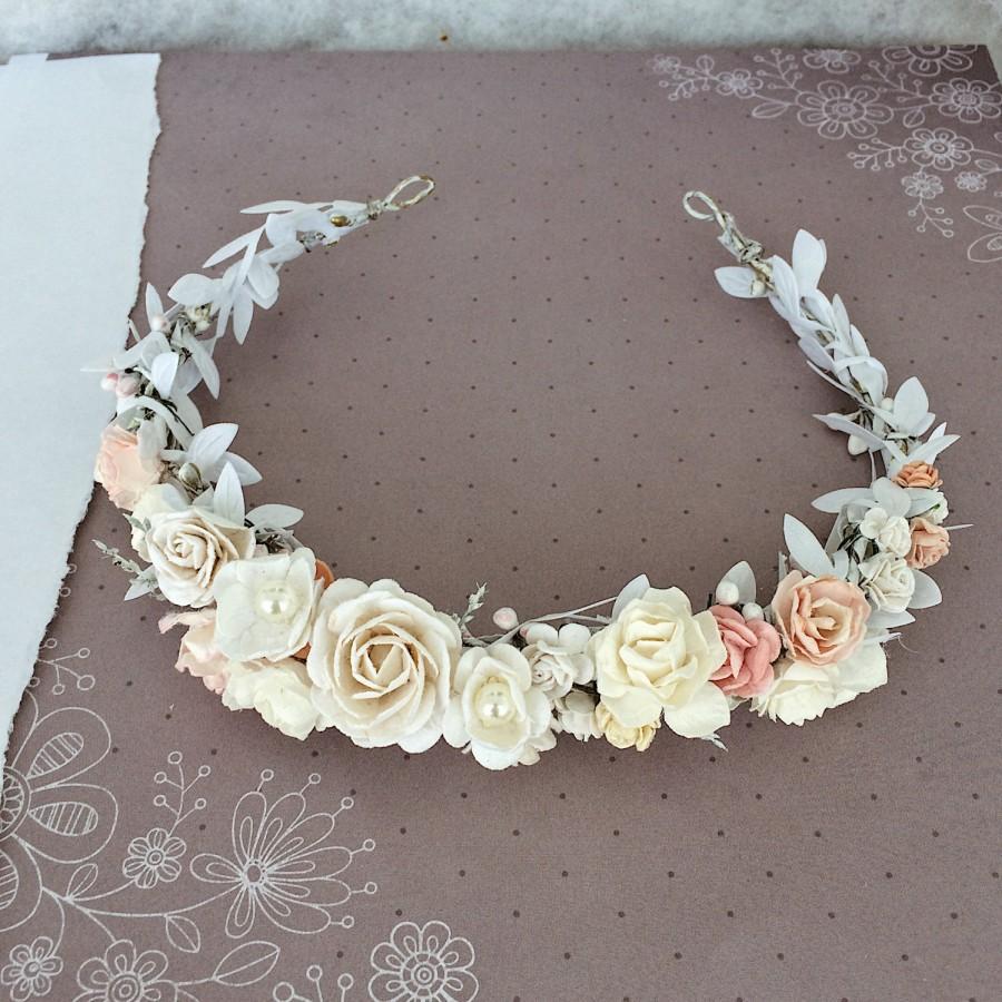 Hochzeit - Bridal floral crown, Blush pink crown, Bridal headband, flowergirl crown, bridal floral crown, woodland halo, bridal wreath, flower crown