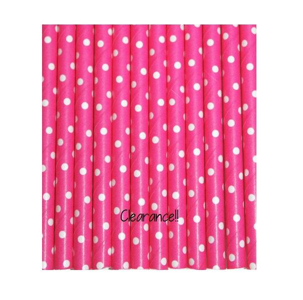 Mariage - Hot Pink with TINY White Polka Dot Paper Straws