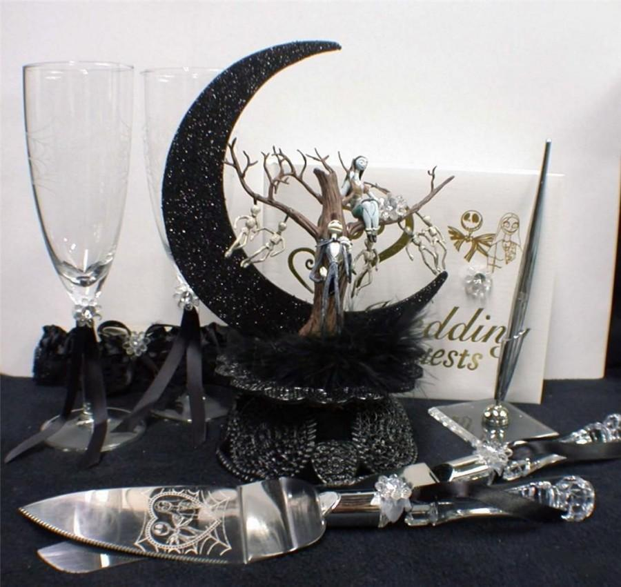 nightmare before christmas wedding cake topper lot glasses server set guest book jack sally