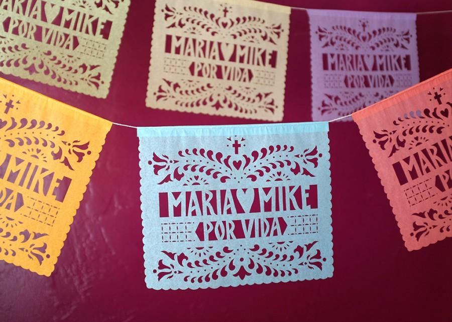 Mariage - SANTA CRUZ Papel Picado - Sets of 2 banners - personalized wedding decorations