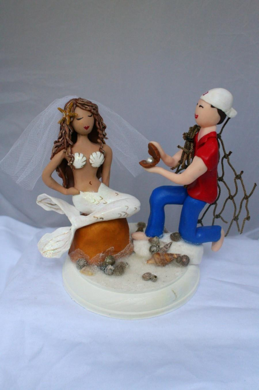 Hochzeit - Mermaid and Wedding Cake Topper CUSTOMIZED to your features Hand Sculpted in Clay