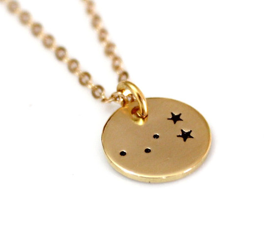 Свадьба - Cassiopeia Constellation Sterling Silver necklace, Gold Plated, Hand Stamped Constellation Necklace, Silver,Zodiac Jewelry, Birthday Gift