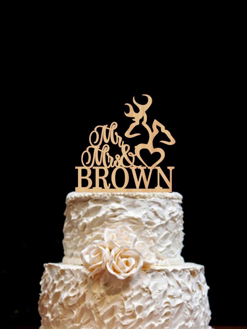 Mariage - Rustic Wedding Cake Topper Deer Wedding Cake Topper Mr Mrs Deer Cake Topper
