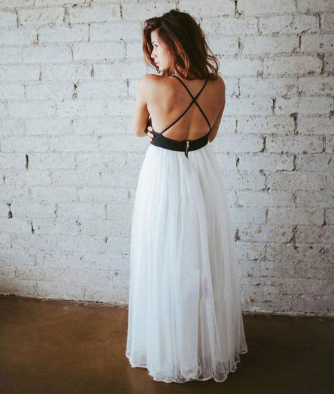 Wedding - simple white chiffon backless long prom dress, evening dress from Dressywomen