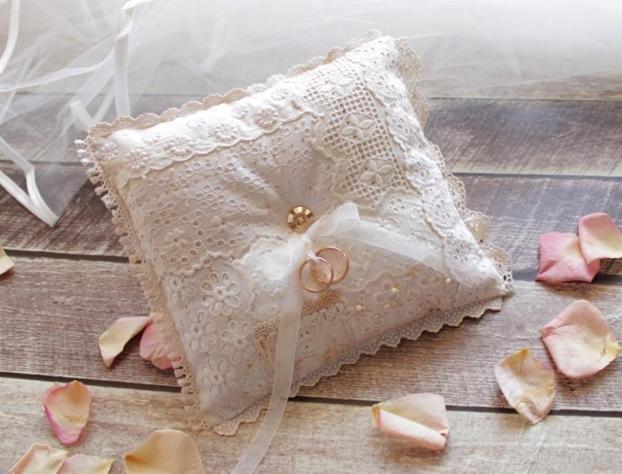 Wedding - OOAK Hand sewn ring bearer pillow -made with Vintage laces and Swarovski beads. Wedding ring bearer pillow, Rustic shabby chic ring cushion